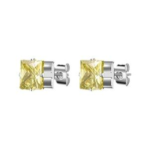 Jewelry - Canary Yellow Square 7mm CZ Stud Earrings